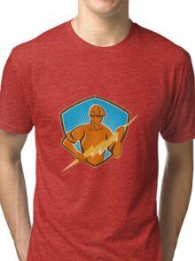 Electrician Construction Worker Retro  Tri-blend T-Shirt