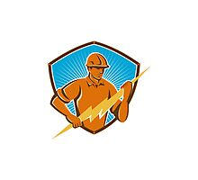 Electrician Construction Worker Retro  Photographic Print