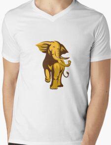 african bull elephant charging retro Mens V-Neck T-Shirt
