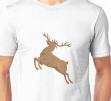 elk stag deer jumping retro style Unisex T-Shirt