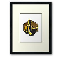 Construction Engineer Worker Building Plan Retro Framed Print