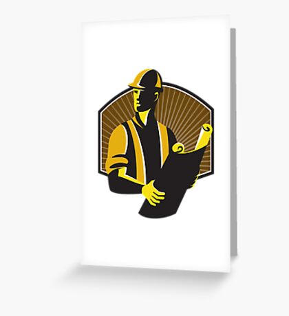 Construction Engineer Worker Building Plan Retro Greeting Card