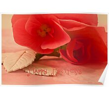 Happy Birthday Card With Begonia Blossoms Poster