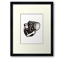 film crew with spotlight fresnel light Framed Print