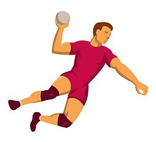 handball player jumping retro by retrovectors
