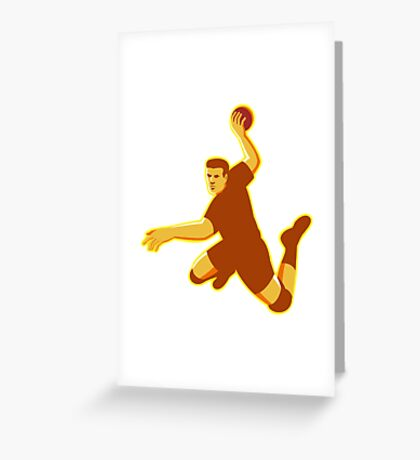 handball player jumping striking retro Greeting Card
