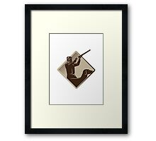 hunter shooting rifle retriever dog retro Framed Print
