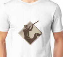 hunter shooting rifle retriever dog retro Unisex T-Shirt