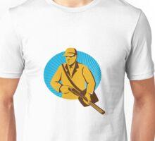 hunter hunting with shotgun rifle retro Unisex T-Shirt