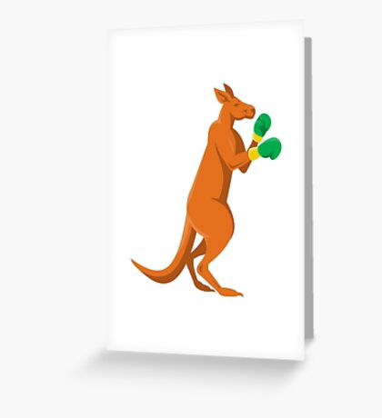 kangaroo boxer boxing retro Greeting Card