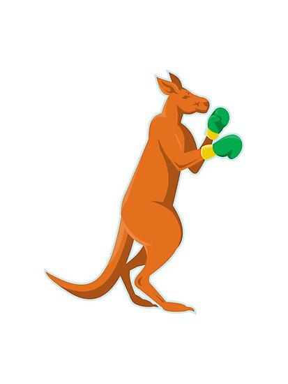 kangaroo boxer boxing retro by retrovectors