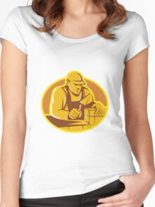 mason brick layer construction worker Women's Fitted Scoop T-Shirt