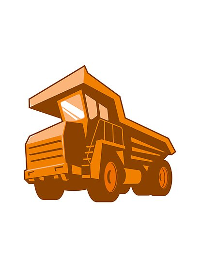 mining truck low angle retro style by retrovectors