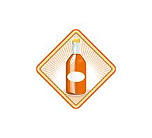 orange soda bottle sunburst retro Photographic Print