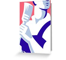 painter worker paint brush retro Greeting Card