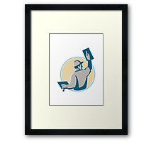 plasterer construction worker trowel Framed Print