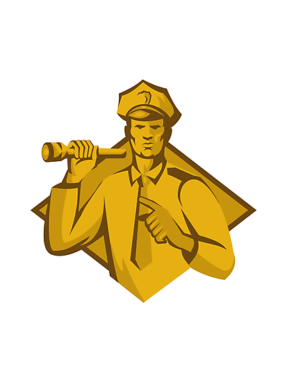 policeman police officer flashlight by retrovectors
