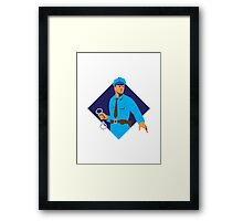 policeman police officer with handcuffs Framed Print