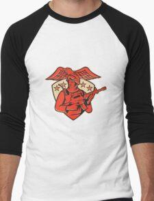 soldier swat policeman rifle eagle shield Men's Baseball ¾ T-Shirt