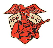 soldier swat policeman rifle eagle shield by retrovectors