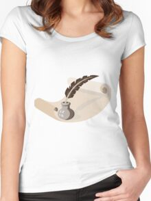 quill pen ink well paper scroll retro Women's Fitted Scoop T-Shirt