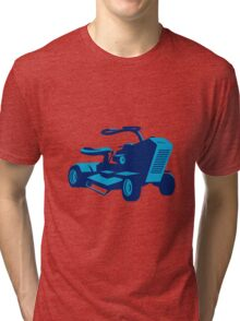 vintage ride on lawn mower retro Tri-blend T-Shirt