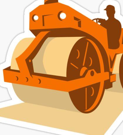 construction road roller retro Sticker