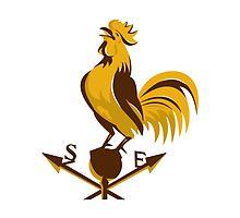 rooster cockerel crowing retro by retrovectors