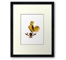 rooster cockerel crowing retro Framed Print