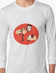 rugby player fending ball retro Long Sleeve T-Shirt