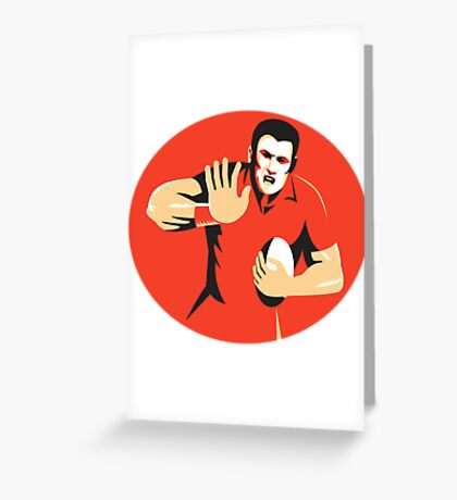 rugby player fending ball retro Greeting Card