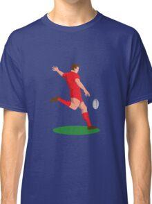 rugby player kicking ball retro Classic T-Shirt