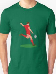 rugby player kicking ball retro Unisex T-Shirt