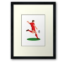 rugby player kicking ball retro Framed Print