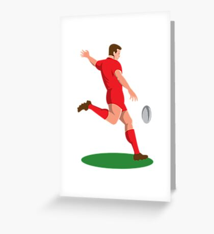 rugby player kicking ball retro Greeting Card