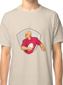 Rugby Player Running With Ball Retro Classic T-Shirt