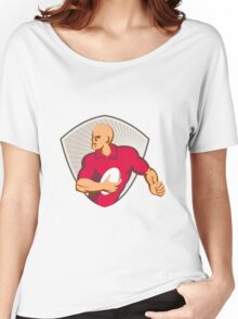 Rugby Player Running With Ball Retro Women's Relaxed Fit T-Shirt