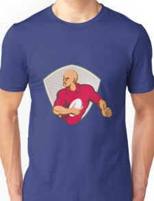 Rugby Player Running With Ball Retro Unisex T-Shirt