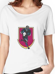 rugby player running passing ball retro Women's Relaxed Fit T-Shirt