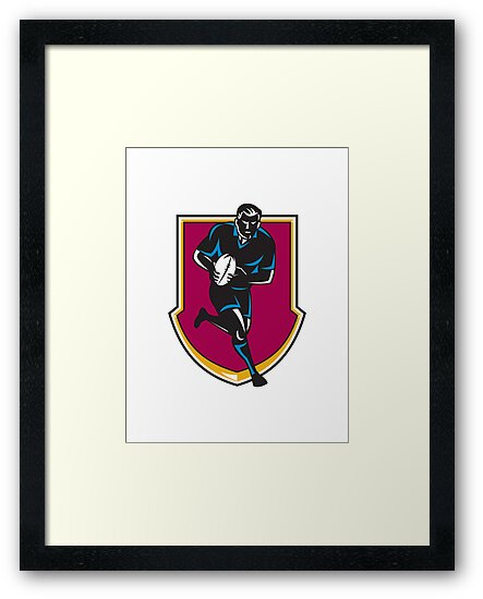 rugby player running passing ball retro by retrovectors