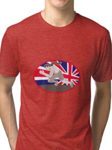 runner track and field athlete british flag Tri-blend T-Shirt