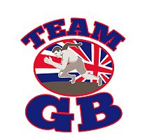 team gb runner track and field athlete british flag by retrovectors