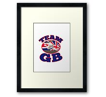 team gb runner track and field athlete british flag Framed Print