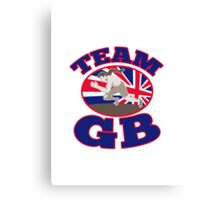 team gb runner track and field athlete british flag Canvas Print
