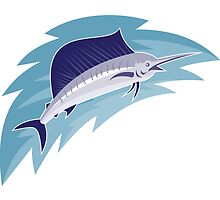sailfish jumping retro style by retrovectors