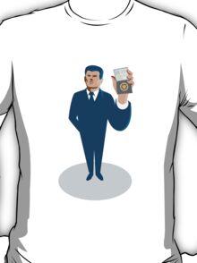 businessman secret agent showing id card badge wallet T-Shirt