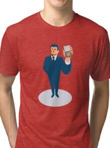 businessman secret agent showing id card badge wallet Tri-blend T-Shirt