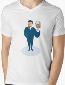 businessman secret agent showing id card badge wallet Mens V-Neck T-Shirt