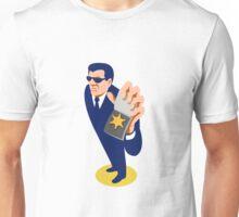 secret agent showing id badge retro Unisex T-Shirt