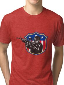 soldier swat policeman rifle shield Tri-blend T-Shirt